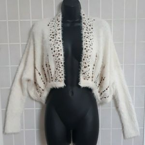 Knitted & Knotted ANTHROPOLOGIE Fuzzy Shrug S